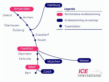 ICE-International route naar München Hbf