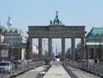 Brandenburger Tor in berlijn duitsland na treinreis