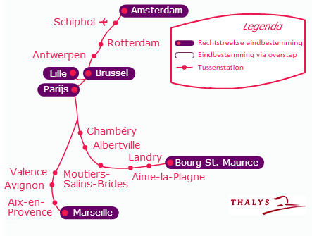 route treinstations zon winter thalys