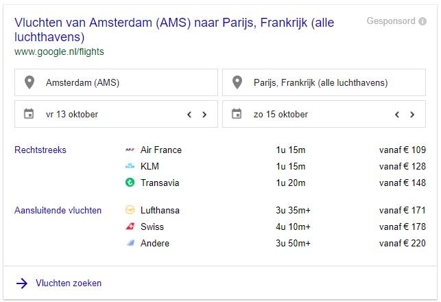 voorbeeld vliegtickets via google amsterdam naar parijs