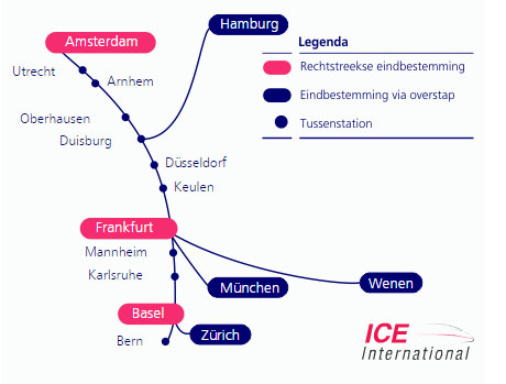 ICE-International route naar München Hbf