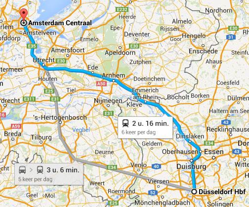 met de trein naar dusseldorf vanaf amsterdam