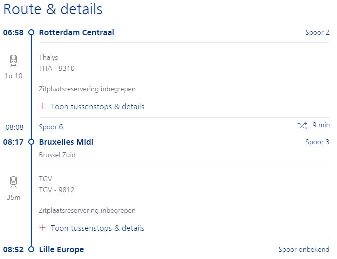 voorbeeld route amsterdam of rotterdam naar lille europe