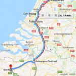 met de trein naar Gent route